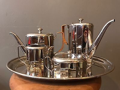 Silverplate Antique Wmf Germany Art Noveau Tea And Coffee Serving Set With Tray