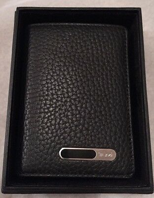 New TUMI Apex Leather Business Credit ID Card Gusseted Case Wallet Black 2ava