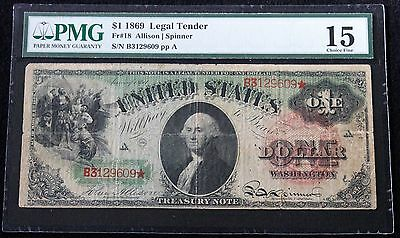 1869 $1 Legal Tender Rainbow Note Pmg 15 Choice Fine Piece Of History!!!!