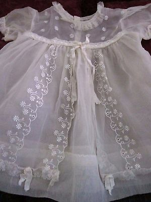 vintage sheer nylon baby dress white christening ribbons lace ribbon flowers