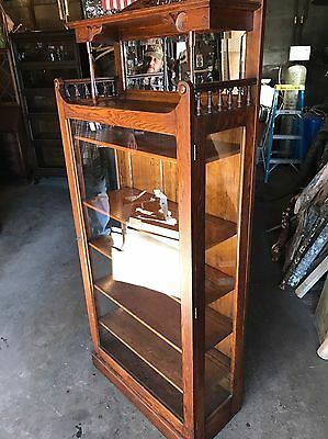 Outstanding Antique Oak Beveled Glass Mirror China Cabinet With Gallery, Curio