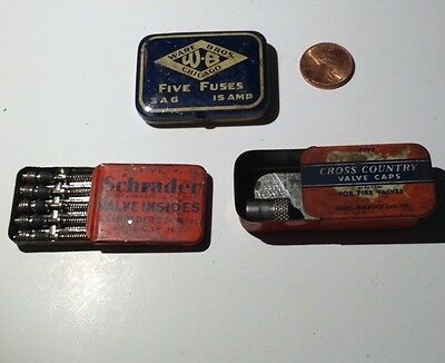 Lot Of 3 Vintage Auto Tins Ware Bros. Fuse, Schrader Valve, Cross Country Caps
