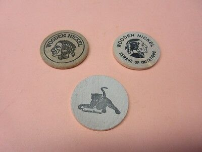 3  WOODEN NICKELS - collectible advertisement