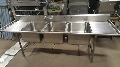 "Stainless Steel 3 compartment bakery sink. 8' 10 3/8"" long. 28x20 bays 3 Bay"