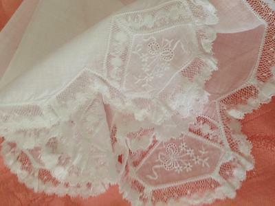Antique French Lace Embroidered Swiss cotton White Hankie. Bridal Something Old.
