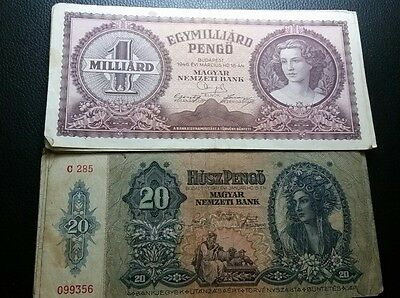 lot of two banknotes from budapest 1941 , 1946 Europe ww2 war history
