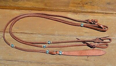 "Jose Ortiz 1/2"" Harness Leather Romel Reins w/1 Natural & Turquoise Rawhide Knot"