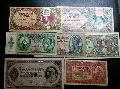 lot of 7 banknotes from Hungary WWII