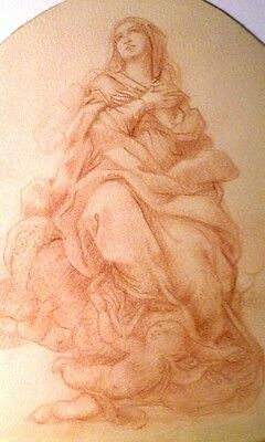 Mary Queen of Angeles Old Master Bologna School Drawing