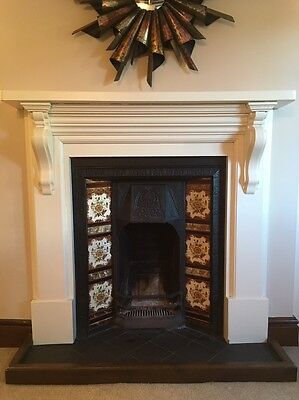 Cast Iron Open Fireplace with Wooden Surround