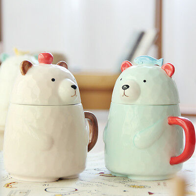 400ml 3D Cute Bear Ceramic Mug with Lid Milk Coffee Mug Tea Cup with Gift Box