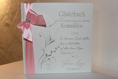 Hardcover Gästebuch Kommunion Konfirmation , rosa