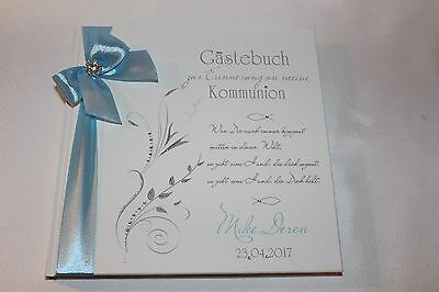 Hardcover Gästebuch Kommunion Konfirmation , hell blau