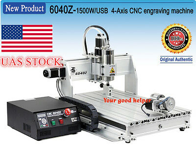 【US Stock】4 Axis USB 6040 1500W Mach3 CNC Router Engraving Milling Machine 110V