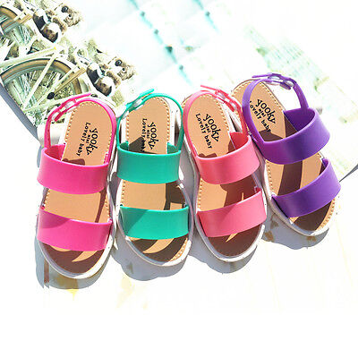 New Fashion Summer Children Kids Girls Flat Sandals Soft Ankle Strap Jelly Shoes