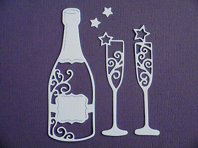 Champagne Bottle Glasses Paper Die Cuts x 4 Sets Party Wedding Scrapbooking