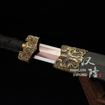 Handmade Chinese Sword Han Jian Double Edge 1095 Carbon Steel+Red Damascus Blade