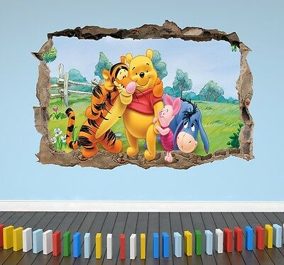Winnie the Pooh and Friends 3D Kids Bedroom Breakout Smashed Wall Sticker Decal