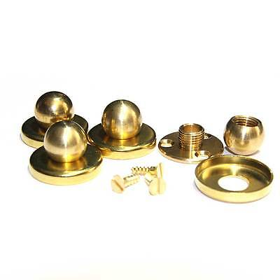 Solid Brass Ball Finial c/w 3 Hole Fixing Plate & Cover For Pedestal Mount PKT 4