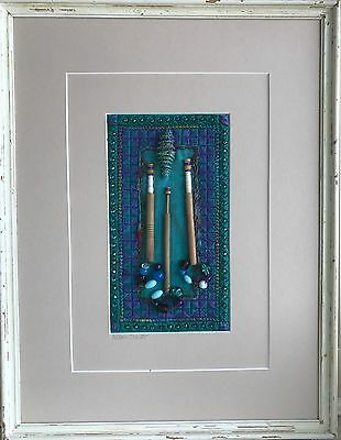 Framed Beads And Bobbins Embroidery on Silk and Canvas