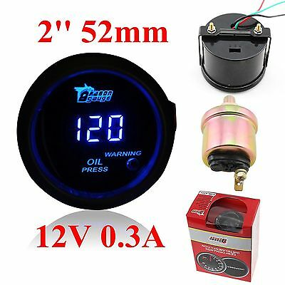"Universal 2"" 52mm DIGITAL BLUE LED OIL PRESS PRESSURE GAUGE Meter PSI black face"