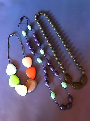 3 Brand New Silicone Teething Necklaces