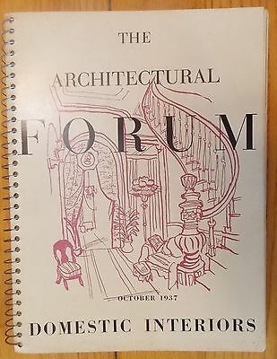"""""""The Architectural Forum"""" October 1937 """"Domestic Interiors"""" 1 Vol. Ring Bound"""