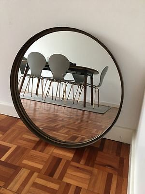 Large round vintage retro mirror with gold frame