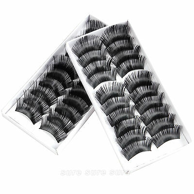 20 par x 3D Pestañas Postizas Eyelashes Super Voluminosa Larga 2CM de Maquillaje