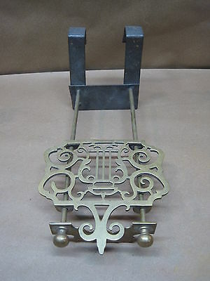 Antique Trivet Early iron & brass fireplace or woodstove sliding trivet
