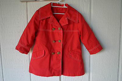 Vintage 60s 70s Child's Northlander Red Pea Coat Double Breasted Anchor Buttons