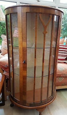 Vintage Locking Bow Fronted China Display Cabinet...1950's?