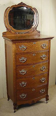 Antique Oak Chest of Drawers with Mirror