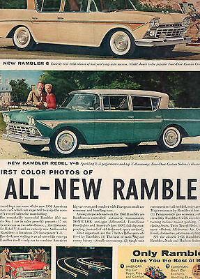1958 Rambler Car Full Two Page Magazine Ad-In Plastic Sleeve-Vintage
