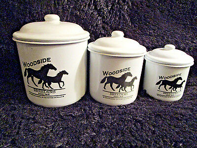 Enamel Ware Containers Equestrian Horse Breeders Veterinarian Set Of 3