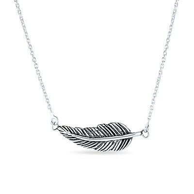 Sterling Silver Sideways Antique Style Feather Pendant Necklace 16 Inches