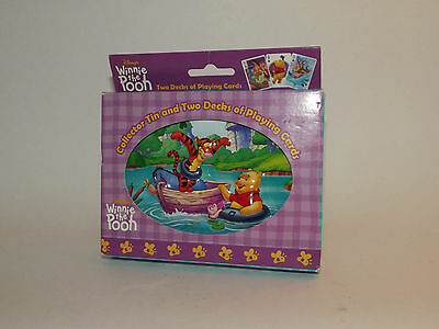 Disney Winnie The Pooh & Tigger Collector Tin & 2 Decks Playing Cards New