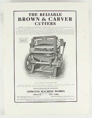 Antique Original 1909 Advertisement for Brown & Carver Paper Cutters