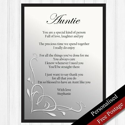 Auntie Gift Personalised Birthday For AuntKeepsake Poem PRINT ONLY
