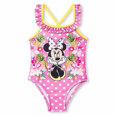 Disney Girls Minnie Pineapple Bubblicious Pink One Piece Swimsuit ~ Size 2T