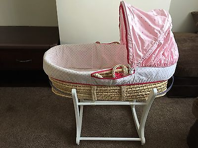 Mothercare moses basket and rocking stand with mattress