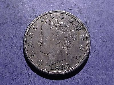 1883 w/cents Liberty V Nickel Fine
