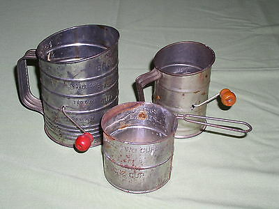 Lot of 3 Vintage Sifters - 1 cup, 2 cup & 3 cup