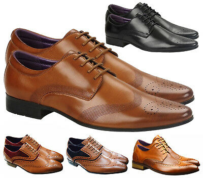 New Mens Leather Lined Italian Casual Formal Brogues Office Wedding Shoes Boots
