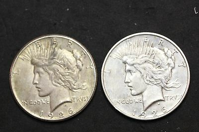 Lot of Two Coins- 1926 P & D Peace Dollars  (1595)