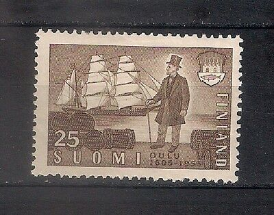 FINLAND 1955  SC# 330 350th anniv. of founding of Oulu   MH * - BOATS   - 4/49