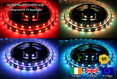 1m Indoor Flexible 5050 LED RGB USB Powered Smart TV PC Colour Changing Strip