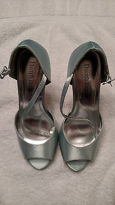 "Davids Bridal Giuliana Dyeable MINT peep toe Shoes sandals 4"" heel  - Size 5.5M"