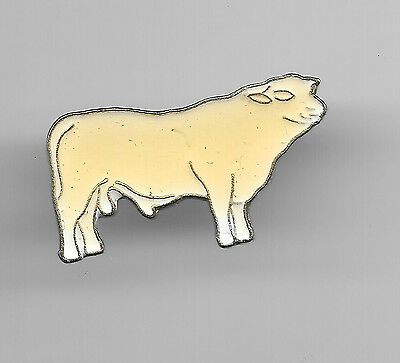 Vintage Charlolais Cow Cattle old enamel pin