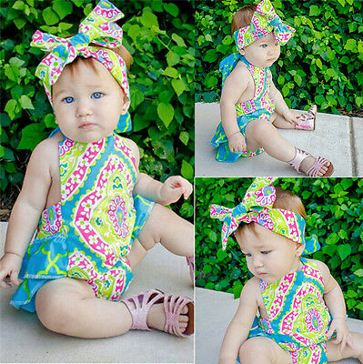 Cute Infant Baby Girls Lace Floral Romper Jumpsuit Bodysuit Headband Outfits Set